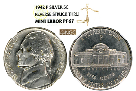 "1942-P SILVER JEFFERSON ""REVERSE STRUCK THRU"" MINT ERROR NGC PF 67"