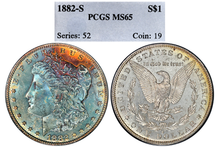 1882-S MORGAN PCGS MS 65