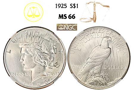 1925-P PEACE DOLLAR NGC MS 66