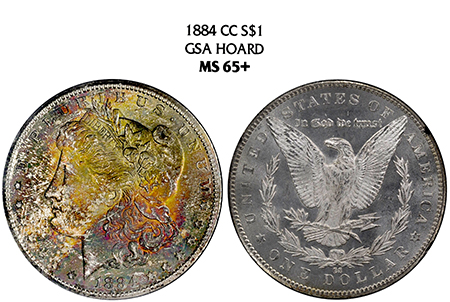 "1884-CC ""GSA HOARD"" MORGAN NGC MS 65 PLUS"