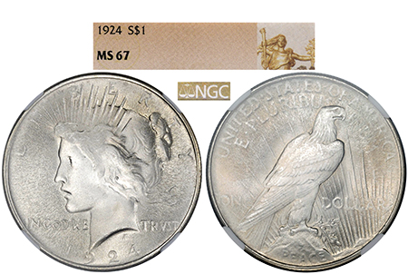 1924-P PEACE DOLLAR NGC MS 67