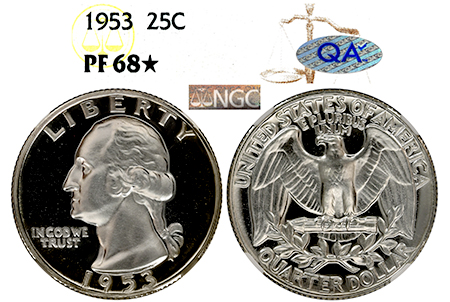 1953 WASHINGTON NGC PF 68 STAR