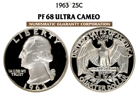 1963 WASHINGTON NGC PF 68 ULTRA CAMEO