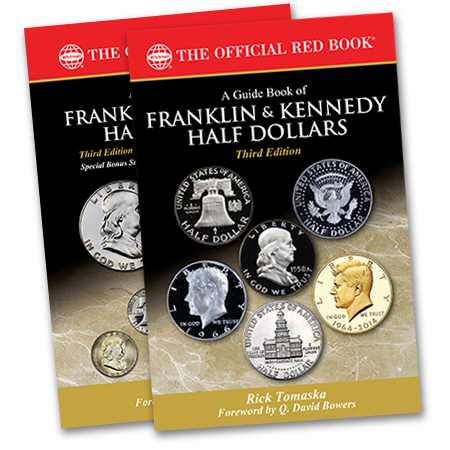 "Show product details for COMBO PRE-ORDER: 3rd Edition ""A Guide Book of Franklin & Kennedy Half Dollars""- 1 Limited Edition Hard Cover (Signed and Numbered) + 1 Soft Cover Edition"