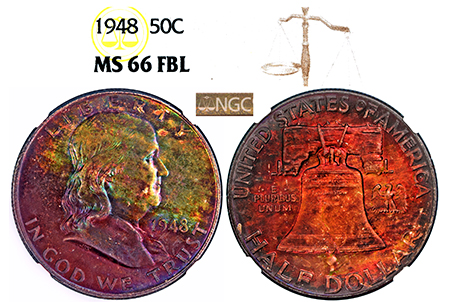 1948-P FRANKLIN NGC MS 66 FBL