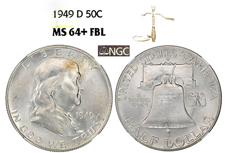 Show product details for 1949-D FRANKLIN NGC MS 64 PLUS FBL