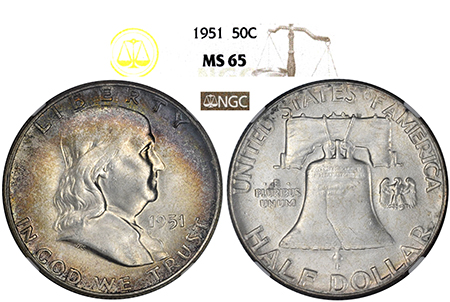 1951-P FRANKLIN NGC MS 65