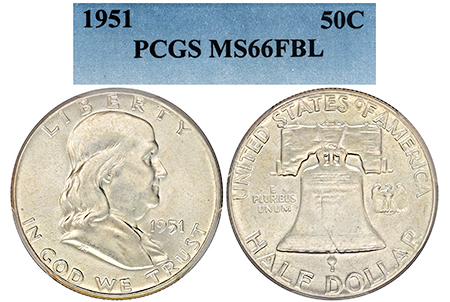 1951-P EVEREST FRANKLIN PCGS MS 66 FBL