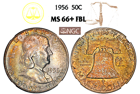 1956-P FRANKLIN NGC MS 66 PLUS FBL