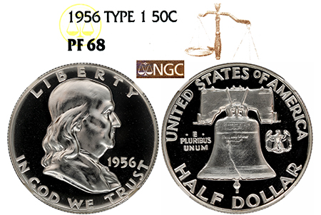 1956 TYPE 1 FRANKLIN NGC PF 68