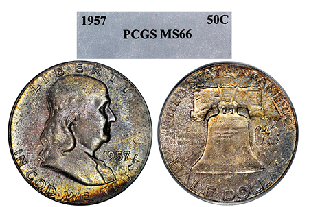1957-P FRANKLIN PCGS MS 66