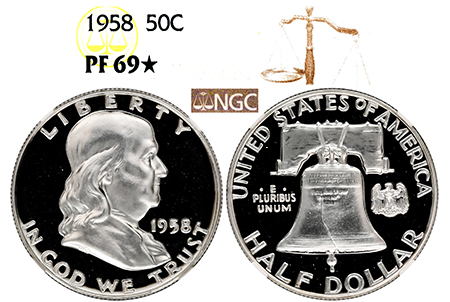 1958 FRANKLIN NGC PF 69 STAR