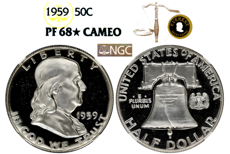 Show product details for 1959 EVEREST FRANKLIN NGC PF 68 STAR CAMEO