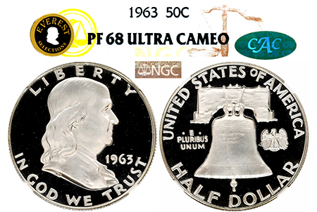 1963 EVEREST FRANKLIN NGC PF 68 ULTRA CAMEO CAC