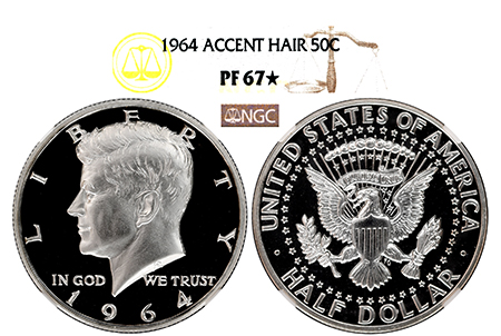 1964 ACCENTED HAIR KENNEDY NGC PF 67 STAR