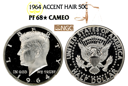 Show product details for 1964 EVEREST ACCENTED HAIR KENNEDY NGC PF 68 STAR CAMEO