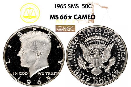 1965 SMS KENNEDY NGC MS 66 STAR CAMEO