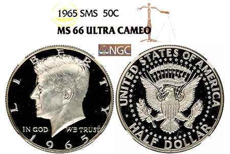1965 SMS KENNEDY NGC MS 66 ULTRA CAMEO