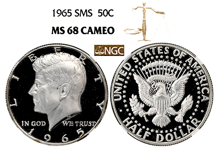 Show product details for 1965 SMS KENNEDY NGC MS 68 CAMEO